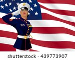 us female soldier saluting with ... | Shutterstock .eps vector #439773907