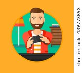 happy gamer playing video game... | Shutterstock .eps vector #439778893