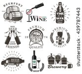 set of wine and beer signs ... | Shutterstock .eps vector #439787443
