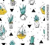 terrarium seamless pattern....   Shutterstock . vector #439809883