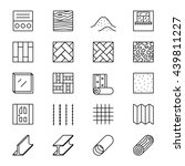 set of line icons with building ...