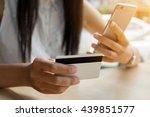 beautiful woman hands holding a ... | Shutterstock . vector #439851577