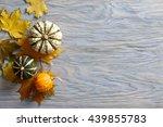 Autumn Blue Wooden Background...
