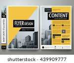 Flyers design template vector. Business brochure report magazine poster resume. Cover book minimal portfolio presentation. Abstract black and yellow shape on a4 layout.  | Shutterstock vector #439909777