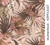 tropical wallpaper. seamless... | Shutterstock .eps vector #439913107
