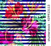 tropical stripes. seamless... | Shutterstock .eps vector #439913113