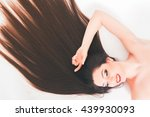 beautiful woman with long hair  ... | Shutterstock . vector #439930093