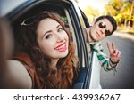 happy young couple taking photo ... | Shutterstock . vector #439936267