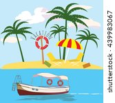 vacations  leisure boat  palm ... | Shutterstock .eps vector #439983067