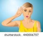 vector woman overhearing... | Shutterstock .eps vector #440006707