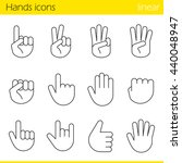 hand gesture linear icons set.... | Shutterstock .eps vector #440048947