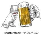 two hands clink a glass of beer ... | Shutterstock . vector #440074267