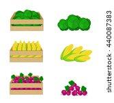 vegetables in wooden boxes... | Shutterstock .eps vector #440087383