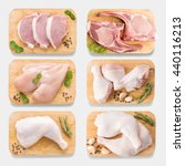 Small photo of Mockup raw chicken and pork on cutting board set on isolated on white background. Copy space for text and logo. Clipping Path included isolated on white background.