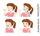 girl cleaning teeth set ... | Shutterstock .eps vector #440125297