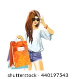 beautiful sexual elegant girl... | Shutterstock . vector #440197543