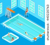 indoors swimming pool with... | Shutterstock .eps vector #440220763