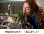 happy young woman enjoying the... | Shutterstock . vector #440284147
