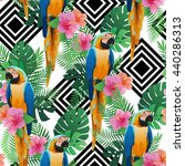 seamless pattern with exotic...   Shutterstock .eps vector #440286313