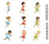 Kids Running Set Of Cute Big...