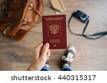 person holds russian travel...   Shutterstock . vector #440315317