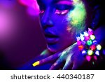fashion model woman in neon... | Shutterstock . vector #440340187