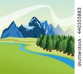 landscape with pine trees and... | Shutterstock .eps vector #440355883