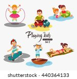 cartoon kids playing. vector... | Shutterstock .eps vector #440364133