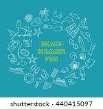 summer beach line objects set.... | Shutterstock .eps vector #440415097