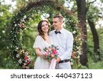 young couple  bride and groom... | Shutterstock . vector #440437123
