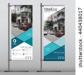 blue flag banner business... | Shutterstock .eps vector #440438017