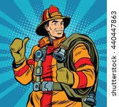 rescue firefighter in safe... | Shutterstock .eps vector #440447863