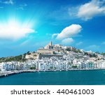 sunset over ibiza port  spain. | Shutterstock . vector #440461003