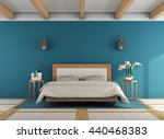 blue classic bedroom with retro ... | Shutterstock . vector #440468383