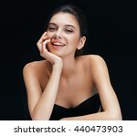 charming young girl on black... | Shutterstock . vector #440473903
