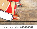 school supplies on old wooden... | Shutterstock . vector #440494087