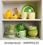 tableware on shelves in the... | Shutterstock . vector #440494123