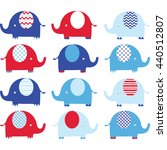 navy blue and red cute elephant ... | Shutterstock .eps vector #440512807