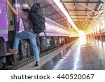 young man traveling by train... | Shutterstock . vector #440520067