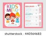 cute colorful kids meal menu... | Shutterstock .eps vector #440564683