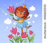cute little girl on a flower.... | Shutterstock .eps vector #440602033