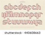set of pink stamp style... | Shutterstock .eps vector #440608663