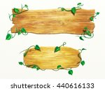 wood signs with some vines.... | Shutterstock . vector #440616133