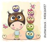 Cute Cartoon Boy In A Owl Hat...