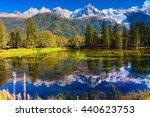 the snow covered alps and... | Shutterstock . vector #440623753