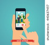 human hand finger pressing... | Shutterstock .eps vector #440637457