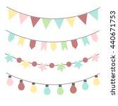 set of garlands in pastel... | Shutterstock .eps vector #440671753