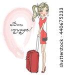 beautiful  lovely blonde girl... | Shutterstock .eps vector #440675233
