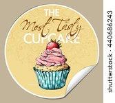 sticker with tasty cupcake ... | Shutterstock .eps vector #440686243