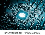 social icon on computer chip  ... | Shutterstock . vector #440723437
